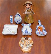 Sale 8346A - Lot 80 - A small group of ceramic wares including a violin pin dish, a cruet ornament, girl feeding a bird, and a blue and white Chinese snuf...