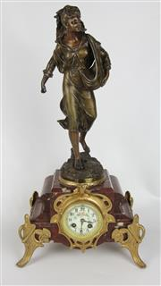 Sale 8425 - Lot 63 - French Spelter A.G. Moulin Figural Clock The Sower