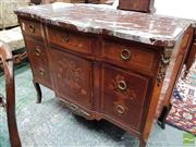 Sale 8485 - Lot 1030 - Good Louis XVI Style Marquetry Breakfront Commode, with figured marble top, three drawers with vase & flower motifs, on cabriole leg...