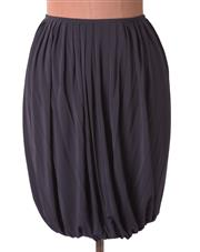 Sale 8550F - Lot 113 - A Celine black rayon mix skirt with soft pleating and elasticised hem, size 40.
