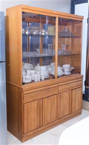 Sale 8593A - Lot 82 - A light oak and glass illuminating display case with four doors above two drawers, above two doors, H 194 x W 142 x D 48cm