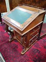 Sale 8728 - Lot 1090 - Unusual Victorian Walnut Davenport, with lockable pop-up stationary section, four drawers to the side and carved cabriole legs