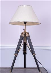 Sale 8891H - Lot 18 - A pair of surveyors tripod lamps, height adjustable, maximum height extended approx 85cm