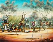 Sale 8955 - Lot 535 - Max Mannix (1939 - ) - Mustering Camp on an Outback Cattle Station 35 x 44.5 cm (frame: 49 x 60 x 3 cm)
