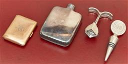 Sale 9098H - Lot 20 - A group of necessities including an EP hip flask, a gold plated cigarette/card case with monogram, a bottle stop and a cork pull, He...