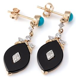 Sale 9124 - Lot 523 - A PAIR ONYX TURQUOISE AND DIAMOND DROP STUD EARRINGS; each a navette shaped onyx plaque centring a 4 round brilliant cut diamond clu...