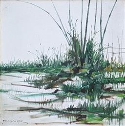 Sale 9257A - Lot 5056 - PACO GOROSPE (1939 - 2002) Riverbank, c1975 oil on canvas board 61 x 61 cm (frame: 69 x 69 cm) signed lower left