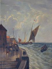 Sale 8000 - Lot 154 - Louise J. Guyot (French, 1869 - 1927) - Whitby, Quayside 1907 oil on canvas
