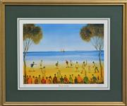 Sale 8068A - Lot 59 - Kevin Charles (Pro) Hart (1928 - 2006) - Beach Cricket 51.5 x 66cm