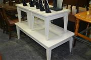 Sale 8105 - Lot 1062 - White Painted Coffee Table w 2 Drawers & 2 Side Tables