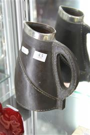 Sale 8112 - Lot 43 - Doulton Lambeth English Hallmarked Sterling Silver & Faux Leather Clad Jug