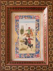 Sale 8342A - Lot 140 - A Middle Eastern School, hand painted work on ivory of polo players elaborately framed,  H 17 x 13cm
