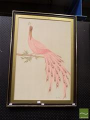 Sale 8474 - Lot 2016 - Marin Perich - Pink Peacock 77.5 x 52cm