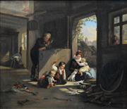 Sale 8549 - Lot 574 - Artist Unknown (C19th) - Playing with Kittens 47.5 x 55cm