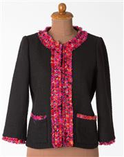 Sale 8550F - Lot 114 - A Kate Spade cotton mix black jacket with multi-coloured trim and silver lining, size 6.