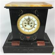Sale 8649 - Lot 82 - Marti & Cie Slate C19th Sienna & Rouge Marble Mantle Clock