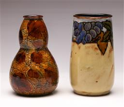 Sale 9136 - Lot 229 - A Royal Doulton Lambeth vase (H:15cm) together with another (H:15cm)