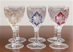 Sale 9140H - Lot 47 - A set of six Astra harlequin sherry glasses, Height 11.5cm