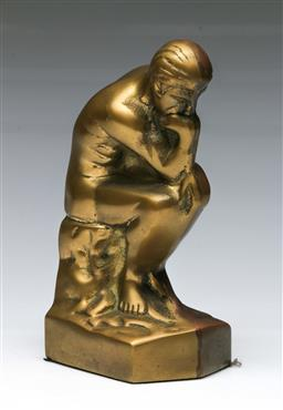 Sale 9144 - Lot 165 - A Roman style brass paperweight of a man in contemplation H18cm