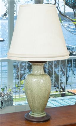 Sale 9164H - Lot 70 - A Celedon vase form table lamp, Height 93cm, without shade 50cm