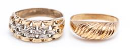 Sale 9194 - Lot 302 - TWO 9CT GOLD RINGS; one with reeded pattern, size O, other 2 tone gate link pattern set with zirconias, size P, total wt. 4.77g.