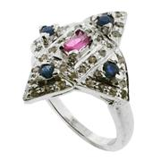 Sale 8060B - Lot 335 - A STERLING SILVER GEM SET RING; central pink tourmaline surrounded by blue sapphires and table cut diamonds. Size N.
