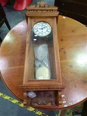 Sale 8657 - Lot 1015 - Westminster Regulator Style Wall Clock in Carved Case with Pendulum & Winder