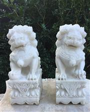Sale 9015G - Lot 70 - Two Carved Stone Foo Dog Statue . General Wear. Size : 30 cm H X15cm L x11cm W.