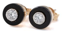 Sale 9164J - Lot 401 - A PAIR OF DIAMOND AND ONYX STUD EARRINGS; each a 6mm onyx disc millegrain set with a round brilliant cut diamond in 9ct gold, 2 diam...
