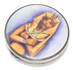 Sale 9149 - Lot 373 - A VINTAGE ENAMELLED SILVER COMPACT; 50mm round enamelled guilloche compact, top hand painted with image of Pharaoh, base not enamell...