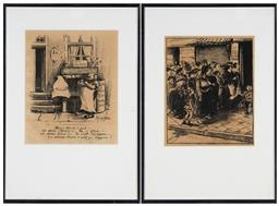 Sale 9155A - Lot 5058 - HEINRICH ZILLE (1858 -1929) (German) (2 works) - In Line for Potatoes, 1916 & The Publican (plate, folio 48) 26 x 21 cm ; 27 x 22.5...