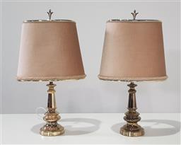 Sale 9188 - Lot 1241 - Pair of gilt table lamps with fabric shades (h:63cm)