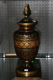 Sale 7877 - Lot 83 - Bohemian Green & Gilt Lidded Vase