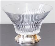 Sale 8279A - Lot 33 - A fluted glass fruit bowl, with silver plate footed base, diameter 24cm
