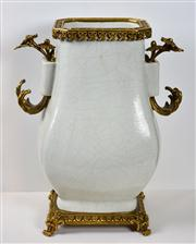 Sale 8402H - Lot 51 - Ching Lung style French framed crackle glaze vase with Qianlong six character mark to the base. French wax seal mark to base also.