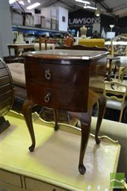 Sale 8499 - Lot 1371 - Timber Bedside with Two Drawers on Cabriole Legs