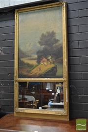 Sale 8520 - Lot 1042 - 19th Century Gilt Framed Trumeau Mirror, with a Moulded Gesso Frame, an Oil on Canvas Panel showing a landscape with A Watermill