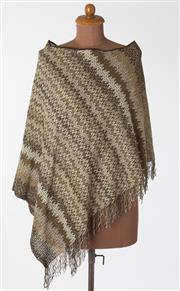 Sale 8550F - Lot 127 - A Missoni brown and silver stripe poncho with tassels, one size.