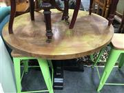 Sale 8648 - Lot 1068 - Round Parquetry Elm Dining Table with Black Painted Base (D: 120cm)