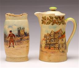 Sale 9136 - Lot 228 - A Royal Doulton historic England vase (H:16cm) together with an old English inns jug (H:16cm)