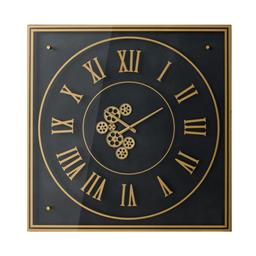 Sale 9140F - Lot 120 - A transitional gold gear square wall clock with roman numerals crafted from iron and glass. Dimensions: W90 x D90 x H6 cm