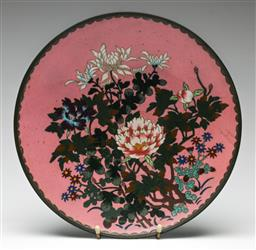 Sale 9209V - Lot 4 - An early pink ground cloisonne charger (dia 30.5cm) (some slight cracks)