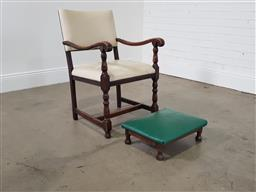 Sale 9255 - Lot 1343 - Leather upholstered bridge chair with stool (h:90 x w:76 x 61cm)