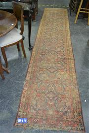Sale 8046 - Lot 1045 - Antique Hall Runner Red and Brown Tones in Tessellating Patterns (415 x 80cm)