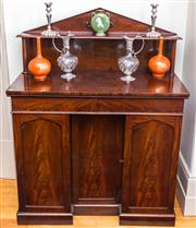 Sale 8284A - Lot 31 - An antique Georgian mahogany small 2 drawer 3 door sideboard, height 130, width 105, depth 54cm