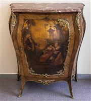Sale 8310A - Lot 47 - Continental bombe commode with painted finish of a courting scene and ormolu accents. (a/f) height 117 x width 110 x depth 43cm