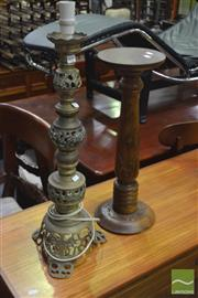 Sale 8341 - Lot 1085 - Carved Timber Pedestal & Brass Lamp (2)