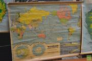Sale 8364 - Lot 1071 - Vintage School Map of the World and Solar System