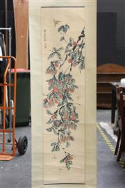Sale 8393 - Lot 72 - Chinese Scroll of Flowers & Dragonflies; Signed