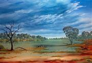 Sale 8507A - Lot 5027 - Jack Absalom (1927 - ) - Storm Clouds Over the Cooper Near Innamincka 43 x 60.5cm (sheet size)